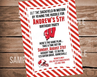 Wisconsin Football Birthday Invitation with Red Stripes
