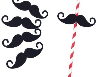 Mustache Paper Straw Flags 25pcs PSF250001