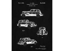 Buick Patent Poster Art Vintage Car Design 1934 Buick Print Car Blueprint Automobile Decor Tech Art