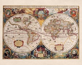 World Map Double Hemisphere Illustrated Reproduction Den Office Wall Art Print  Henricus Hondius c 1630 8x10 16x20 20x24