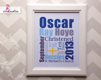 Christening Gift - Personalised Gift - Christening Picture - Personalised Picture