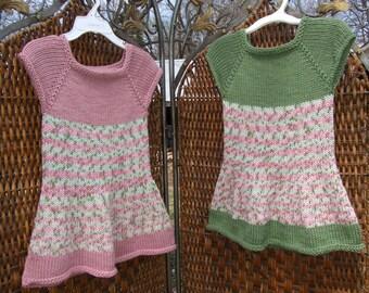 Toddler dress, twin dresses, little girl cotton dress, knit cotton dress, green knit dress, pink knit dress