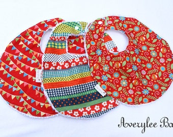 Baby Bib Set with Flowers, Stipes and Bunting, Baby Girl Bibs, Chenille Bibs, Baby Shower Gift Set, Baby Bibs for Girls