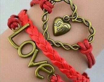 Love Heart Red Adjustable Leather Bracelet