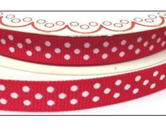3 metres Berties Bows Polka Dot Grosgrain Ribbon, Red and White, 9mm wide, ribbon, craft supplies