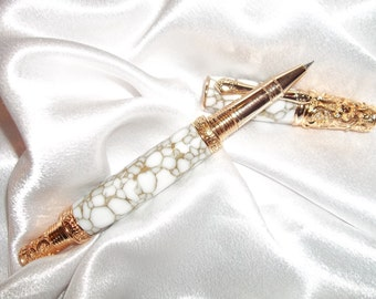 Victorian 24kt Gold Rollerball Pen White with Gold Web Trustone