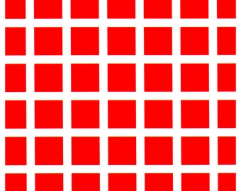 Red Squares Poster, Optical Illusion, Fashing Dots, Pulshing Dots, Trippy Visuals