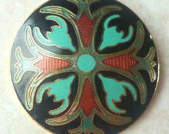 Vintage Native American Style Enamel Thunderbird And Buffalo Brooch.
