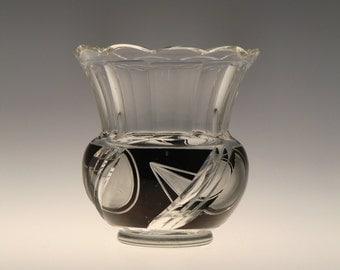 Czech Bohemian Art Deco Glass Vase by Karl Palda