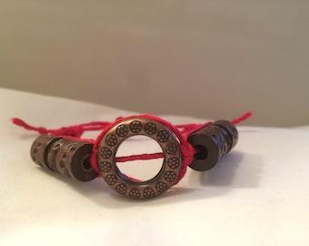 Red Hemp Bracelet With Wooden Beads