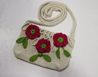 Cross body bag, small knitted across body bag, bright colourful linen. Women, girls, teens.