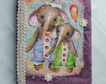 15% off Handmade Notebook with Oil Painting Elephants, journal diary, sketchbook