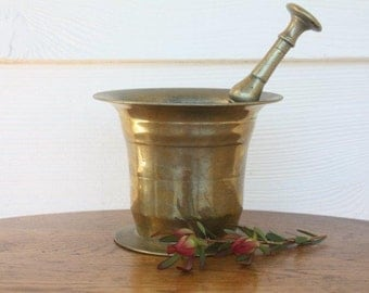 Antique brass apothecary mortar and pestle