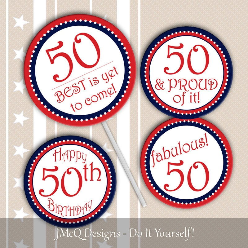 Printable 50th Birthday Cupcake Toppers Fiftieth BD Party Red