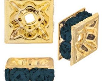 4mm Beadelle Gold/Montana Squardelles (72 pcs)