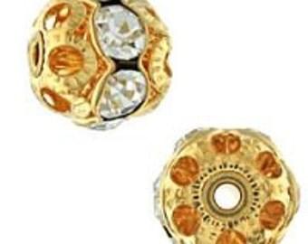 10mm Vintage Austrian Gold/Crystal Rhinestone Balls (12pcs)