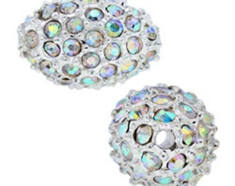 9x13mm Beadelle Silver / Crystal AB Pave Bead (6 pcs)