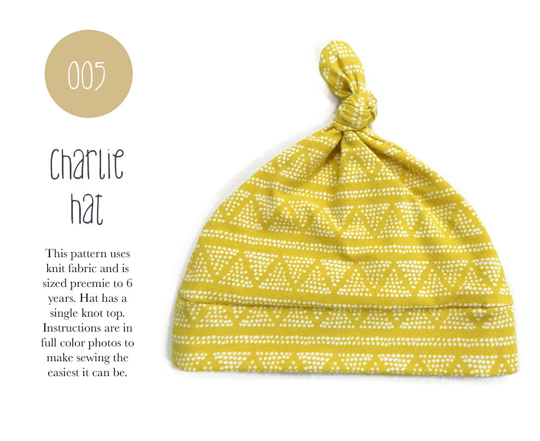 005 Charlie Hat Pdf Sewing Pattern Baby Kids Toddler Knot Hat