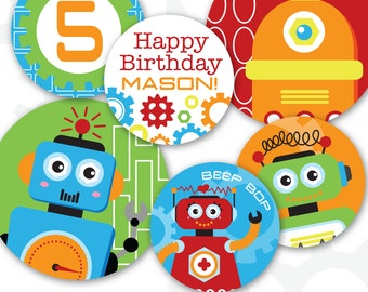 "Robot Cupcake Toppers | Personalized | Robot 2"" and 4"" Circles 