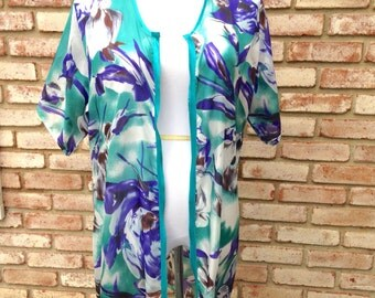 Silk Kimono Cardigan, Blue Green Kimono Jacket, Gift for Mom, Wedding Accessories, Gift For Her, Beach Cover Up, Gender Reveal, Baby Shower