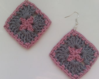 Handmade, crochet earrings, crochet squares, cotton jewlery.