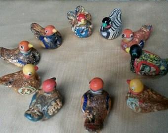 10 pcs Phoenician glass bird beads