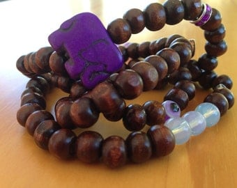108 Wrist Wrap Mala Dark Brown Beads 8mm Stretch Accented with Purple Elephant Spacer Beads and Gemstones
