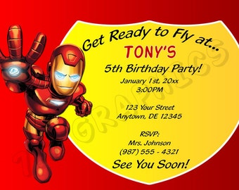 Iron Man Birthday Invitation - Printable