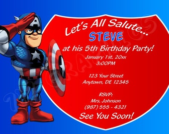 Captain America Birthday Invitation - Printable
