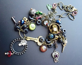 SALE  Found Object Dreamcatcher Necklace