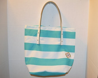 Teal and White striped summer tote with flip flop applique