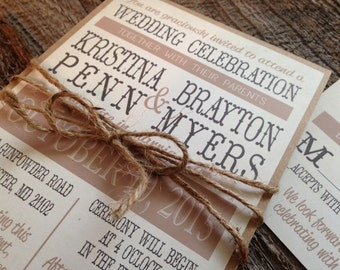 Rustic Wedding Invitation Set,Country Wedding Invitation,Rustic Chic  Wedding Invitation,Barn Wedding