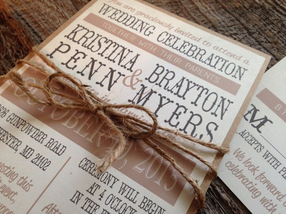 Rustic Wedding Invitation Sets: Rustic Wedding Invitation SetCountry Chic Wedding