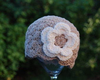 3-6 months cotton baby girl  hat, hat for baby girls, infant girl hat, hat with flower, cotton beanie for baby girls, ready to ship