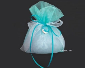 Cap charm Turquoise baptism favors for boy Greek baptism bomboniere ideas Handmade favors summer theme Party guests gift organza pouch 10 pc