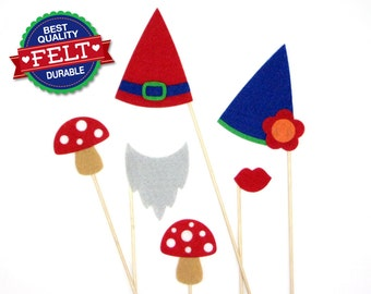 Photo Booth Props FELT 6 Piece Gnome Props