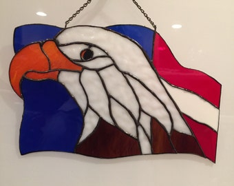 American Eagle & Flag, Sun Catcher, Eagle Sun Catcher, Stained Glass Eagle