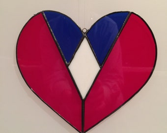 American Heart, Red, White & Blue Heart, Sun Catcher Heart