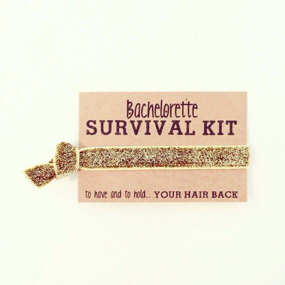Bachelorette Survival Kit Favor | Gold Glitter Hair Tie Favors, Gold Glitter Hair Tie Bachelorette Favor, Gold Bachelorette Hair Tie Favors