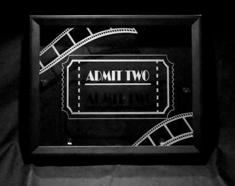Personalized Tickets Shadow Box Etched Glass Movies Concerts Ticket Collection