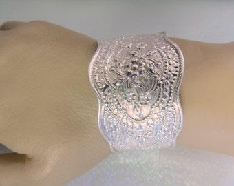 Antique Sterling Silver Cuff Bracelet Floral Repousse Wide Cuff Bracelet