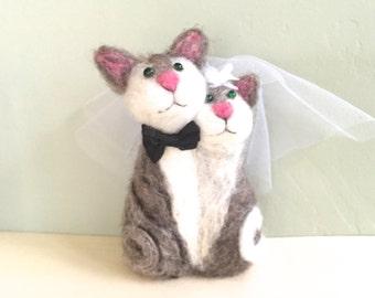 Needle felted cat wedding cake topper cat cake topper needle felted animal felted cake topper felted cat soft sculpture felt cat felt4soul