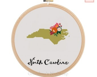 North Carolina Cross Stitch Pattern Modern Cross Stitch Pattern Counted Cross Stitch Pattern North CarolinaArt North CarolinaState Art North