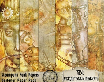 Steampunk Funk Commercial Use Scrapbook Papers - digital or Traditional paper crafts and scrapbooking- Steam punk Background Papers