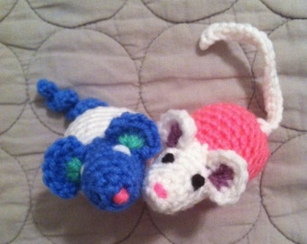 2 cat toys, pet toys, stuffed mouse toy, hamster plushie, kitty toy, mice plushies, amigurumi toy, crochet toys, small stuffed animal,