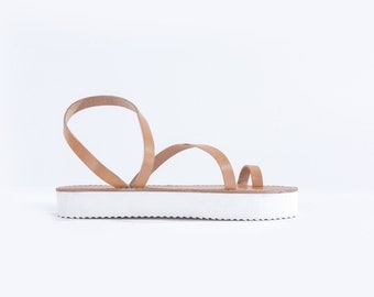 Genuine Greek Leather Sandal : Persephone (Natural Color)