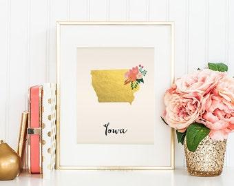 Iowa State Art Printable Iowa Art Printable State Wall Art Printable State Map Printable Home Wall Art Faux Gold Foil Printable Gift