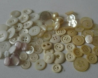 Around 80 Vintage Cream and White Buttons