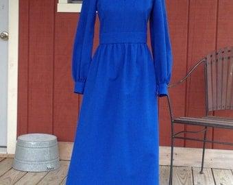 Vintage Blue Dress, Floor Length, Home Sewn, long sleeves / keyhole neck /1970's