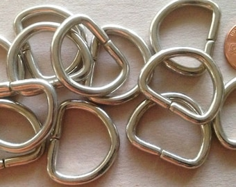 "Lot of 12 Shiny Silver Tone Metal D-rings 1 1/16"" 27.5mm # 7203"